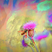 A Hoverfly On Abstract #h3 Poster