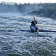 A Kayaker Takes On White Water Rapids Poster