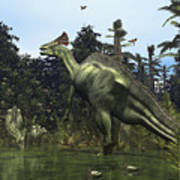 A Lambeosaurus Rears Onto Its Hind Legs Poster