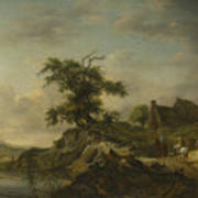 A Landscape With A Farm On The Bank Of A River Poster