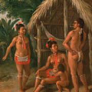 A Leeward Islands Carib Family Outside A Hut Poster