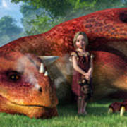 A Little Girl And Her Dragon Poster