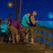 A Little Night Fishing At The Rodanthe Pier 2 Poster by Anne Kitzman