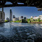 A Look At The Chicago Skyline From Under The Roosevelt Road Bridge  Poster