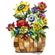 A Lovely Basket Of Flowers Poster