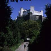 A Man Walks Toward The Salzburg Castle Poster by Taylor S. Kennedy