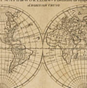 A Map Of The World With The Voyage Of Robinson Crusoe Poster