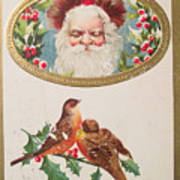 A Merry Christmas From Santa Claus Vintage Greeting Card With Robins Poster