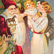A Merry Christmas Vintage Card Santa And A Family Poster