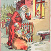 A Merry Christmas Vintage Greetings From Santa Claus And His Gifts Poster