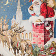 A Merry Christmas Vintage Greetings From Santa Claus And His Raindeer Poster