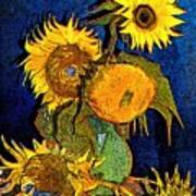 A Modern Look At Vincent's Vase With 5 Sunflowers Poster
