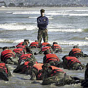 A Navy Seal Instructor Assists Students Poster