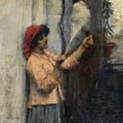 A Neapolitan Flax Spinner John William Waterhouse Poster