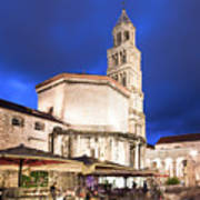 A Night View Of The Cathedral Of Saint Domnius In Split Poster