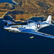 A North American P-51d Mustang Flying Poster