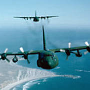 A Pair Of C-130 Hercules In Flight Poster