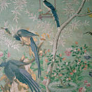 A Pair Of Magpie Jays  Vintage Wallpaper Poster