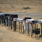 A Parade Of Mailboxes On The Outskirts Poster