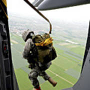 A Paratrooper Executes An Airborne Jump Poster