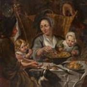 A Peasant Family Dining Poster