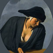A Peasant Woman Wearing A Black Hat Leaning On A Wooden Ledge Poster