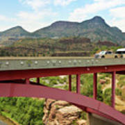 A Pickup Pulling A Travel Trailer Across The Salt River Canyon B Poster