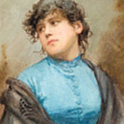 A Portrait Of A Young Woman In A Blue Dress Poster