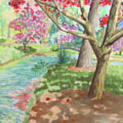 A Quiet Stroll In The Japanese Gardens Of Gibbs Gardens Poster