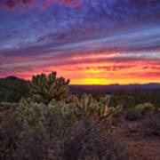 A Red Hot Desert Sunset Poster