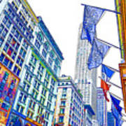 A Row Of Flags In The City Of New York 1 Poster