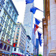 A Row Of Flags In The City Of New York 2 Poster