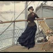 A Scottish Lady On A Boat Arriving In New York Henry Bacon Poster