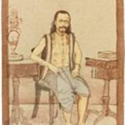 A Seated Indian Priest With English Furniture Poster