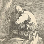 A Sleeping Warrior Seated On A Rock And Leaning On His Shield Poster