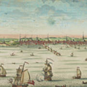A South East View Of The Great Town Of Boston In New England In America, 1730 Poster