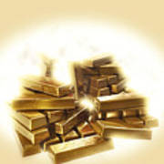 A Stack Of Gold Bullion  Poster