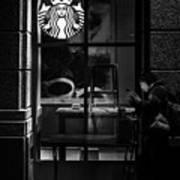 A Starbucks Respite In Downtown San Jose Poster
