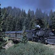 A Steam Engine Chugs Through A Mountain Poster