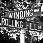 Wi - A Street Sign Named Winding Way And Rolling Hill Poster