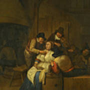 A Tavern Interior With Two Peasants Making Advances On A Maid With Figures Making Music Beyond Poster