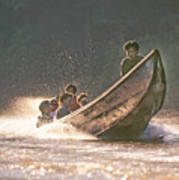 A Tigertail Boat On The Ping River Poster