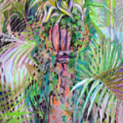 A Tropical Basket On A Post Poster