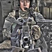 A Uh-60 Black Hawk Door Gunner Manning Poster by Terry Moore