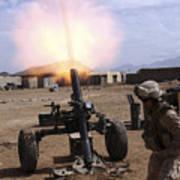 A U.s. Marine Corps Gunner Fires Poster