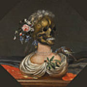 A Vanitas Bust Of A Lady With A Crown Of Flowers On A Ledge Poster