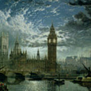 A View Of Westminster Abbey And The Houses Of Parliament Poster