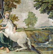 A Virgin With A Unicorn Poster
