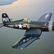 A Vought F4u-5 Corsair In Flight Poster by Scott Germain