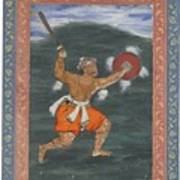 A Warrior Brandishing A Sword Poster